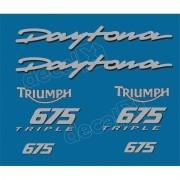 Kit Adesivos Triumph Daytona 675 Azul E Prata Decalx