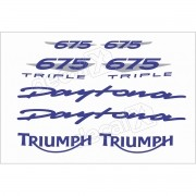 Kit Adesivos Triumph Daytona 675 Branca E Azul Decalx