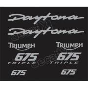 Kit Adesivos Triumph Daytona 675 Preta E Prata Decalx