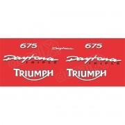 Kit Adesivos Triumph Daytona 675 Vermelha E Branco Decalx