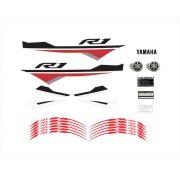 Kit Adesivos Yamaha R1 2015 Vermelha E Branca R115ve