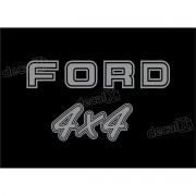 Kit Emblema Adesivo Ford F1000 4x4 Traseira Em Prata