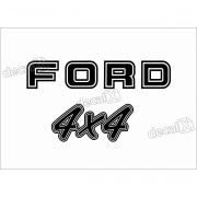 Kit Emblema Adesivo Ford F1000 4x4 Traseira Em Preto