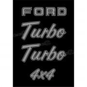 Kit Emblema Adesivo Ford F1000 Turbo 4x4 Em Prata