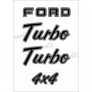Kit Emblema Adesivo Ford F1000 Turbo 4x4 Em Preto