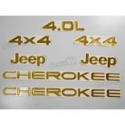 Kit Emblema Adesivo Resinado Cherokee 4x4 4.0l Dourado