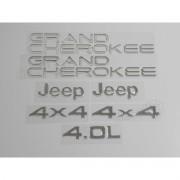 Kit Emblema Adesivo Resinado Gran Cherokee 4x4 4.0l Cromado