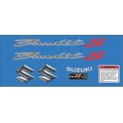 Kit Jogo Emblema Adesivo Suzuki Bandit 650s 2008 Azul S0601