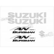 Kit Jogo Emblema Adesivo Suzuki Burgman An 125 Bgm02