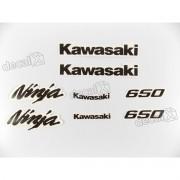 Kit Jogo Faixa Emblema Adesivo Kawasaki Ninja 650 2009 Preto