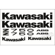 Kit Jogo Faixa Emblema Adesivo Kawasaki Z750 2010 Branca