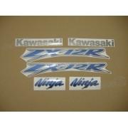Kit Jogo Faixa Emblema Adesivo Kawasaki Zx-12 2003 Prata
