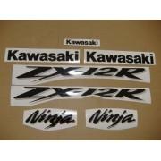 Kit Jogo Faixa Emblema Adesivo Kawasaki Zx-12 2004 Preta