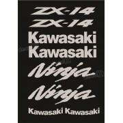 Kit Jogo Faixa Emblema Adesivo Kawasaki Zx-14 2012 Preta