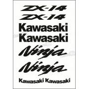 Kit Jogo Faixa Emblema Adesivo Kawasaki Zx-14 2012 Vermelha