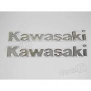 Kit Jogo Faixa Emblema Adesivo Resinado Kawasaki Cromado Re9