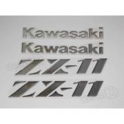Kit Jogo Faixa Emblema Adesivo Resinado Kawasaki Zx-11 Re8