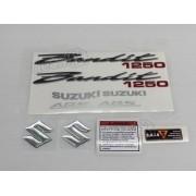 Kit Jogo Faixa Emblema Adesivo Suzuki Bandit 1250 2007 Preta