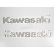 Par Adesivos Kawasaki Resinado Prata 21x3 Cms Re57