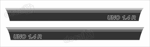 Adesivo Faixa Lateral Fiat Uno 1.4r Unoc26