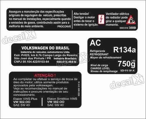 Etiqueta Adesivo Painel Frontal Capo Volkswagen Golf Golfet