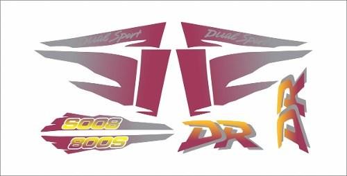 Kit Adesivos Suzuki Dr 800 Dr800 1996 Preta E Roxa Dr013