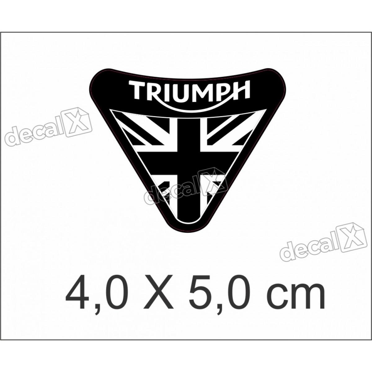 Adesivo Escudo Triumph Resinado 4x5 Cm Preto Decalx