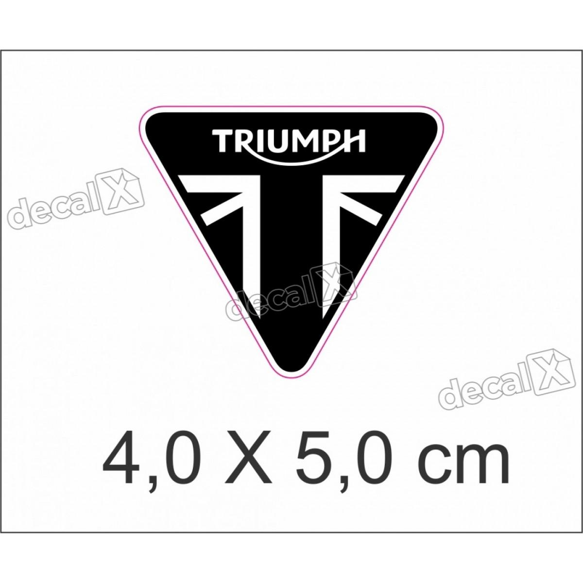 Adesivo Escudo Triumph Resinado 4x5 Cms Preto 2 Decalx