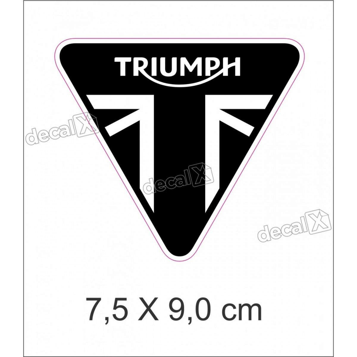 Adesivo Escudo Triumph Resinado 7,5x9,0 Cms Preto 2 Decalx