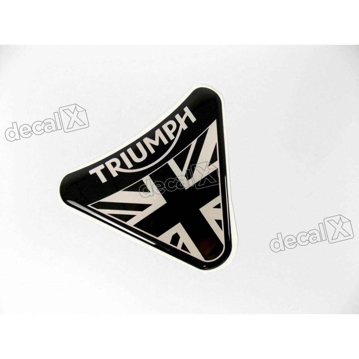 Adesivo Escudo Triumph Resinado 7,5x9,0 Cms Preto Decalx