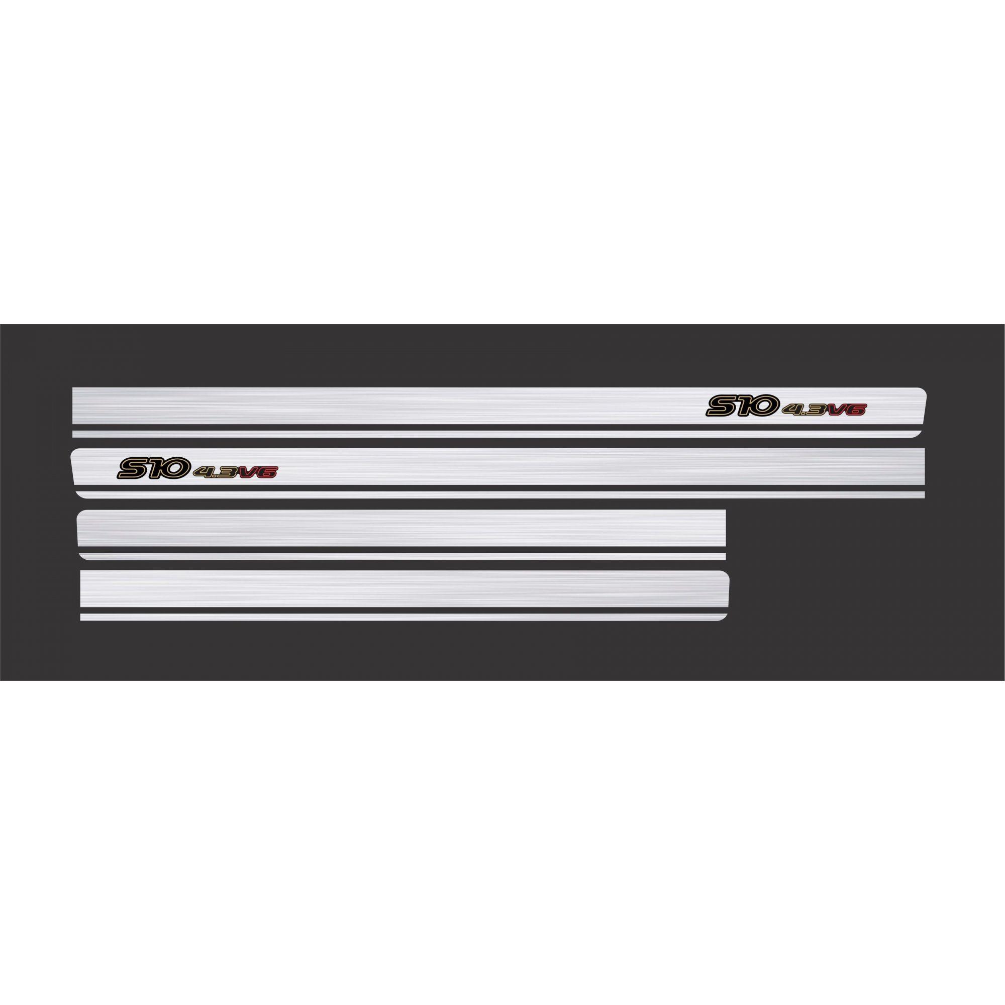 Adesivo Faixa Chevrolet S10 4.3v6 Aço Escovado S10p22