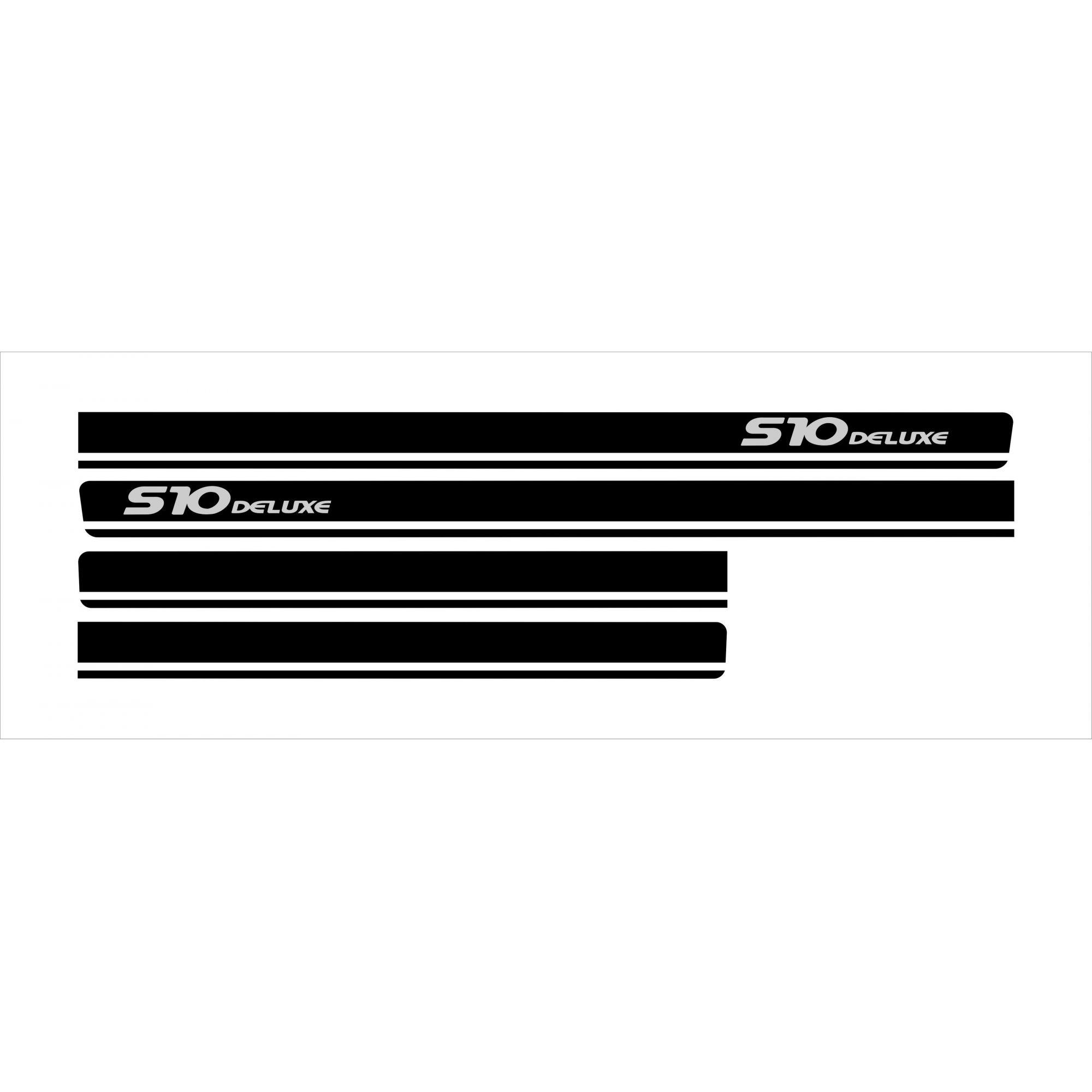 Adesivo Faixa Chevrolet S10 Deluxe Preto S10p11