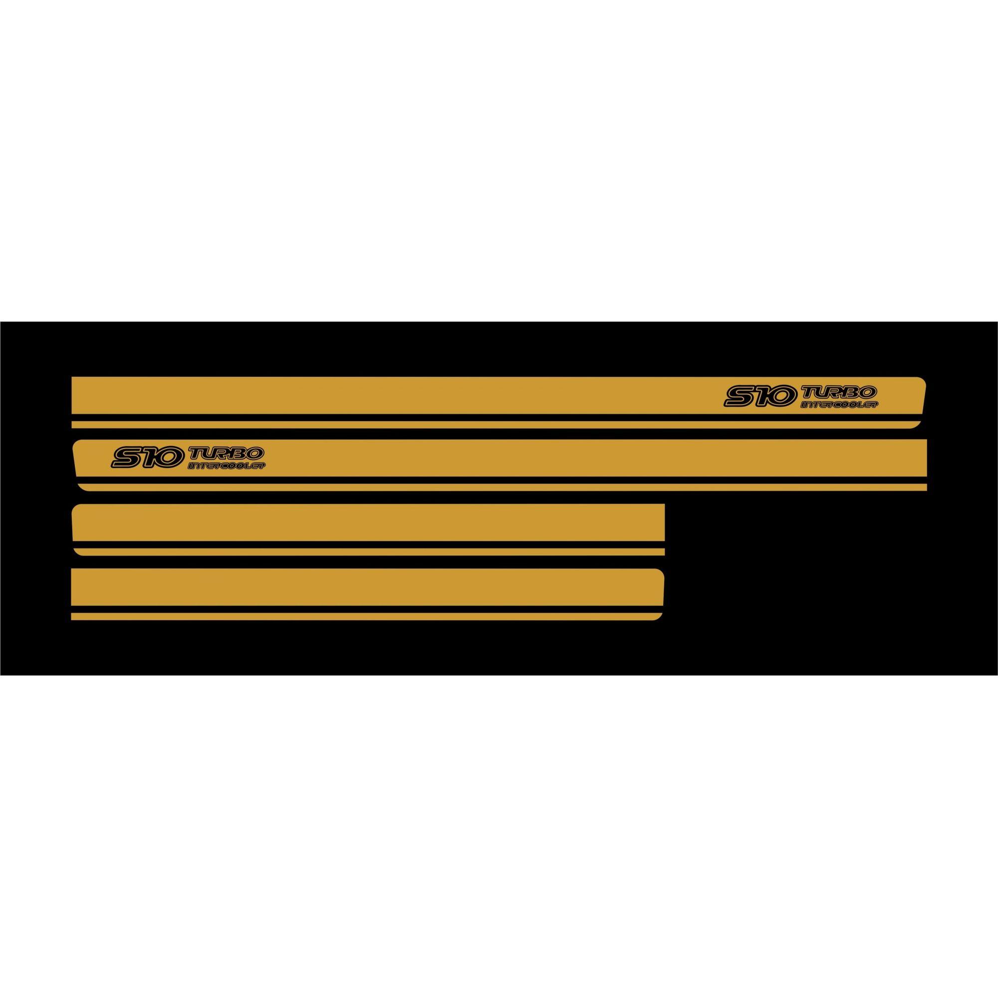 Adesivo Faixa Chevrolet S10 Turbo Intercooler Dourado S10p15