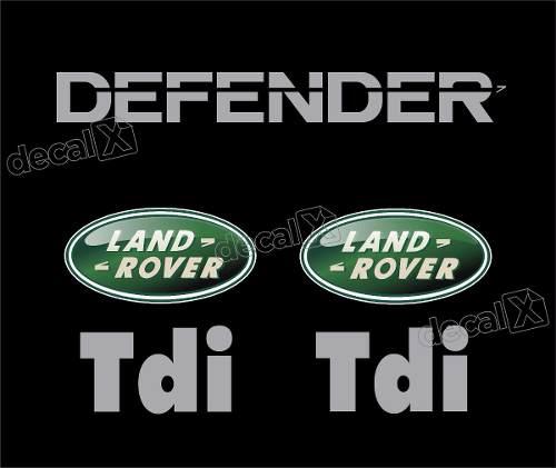 Adesivo Land Rover Defender Prata + 2 Logo Resin. Kit18