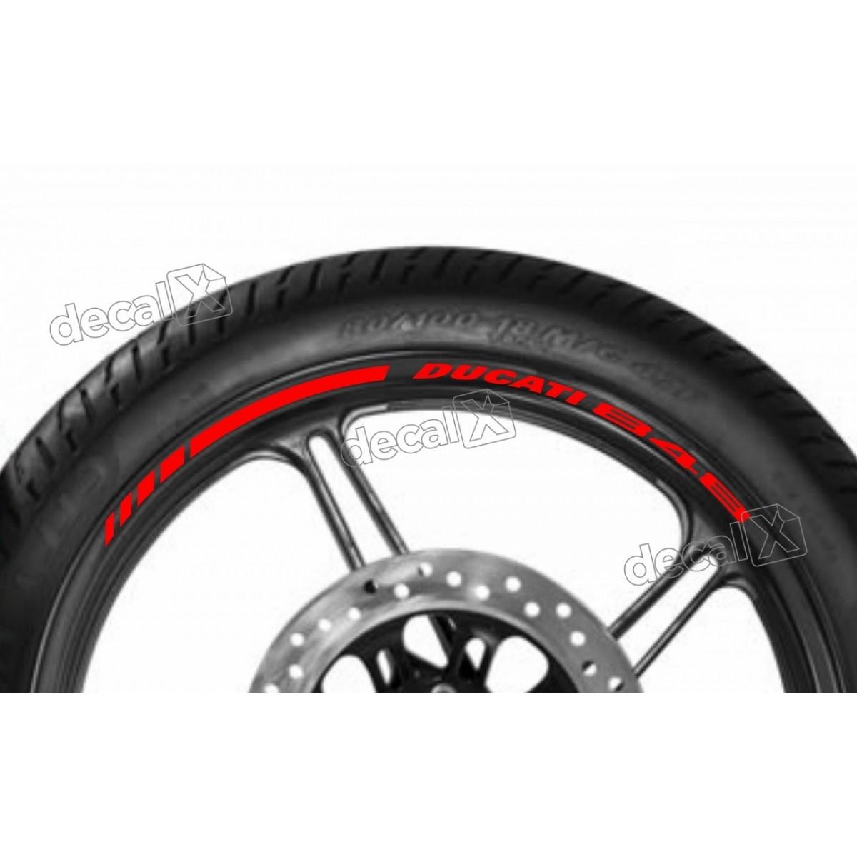 Adesivos Friso Refletivo Roda Moto Ducati 848 Vermelho