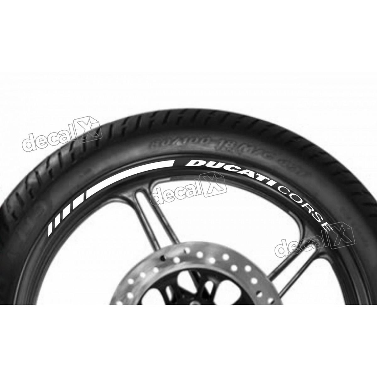 Adesivos Friso Refletivo Roda Moto Ducati Corse Branco