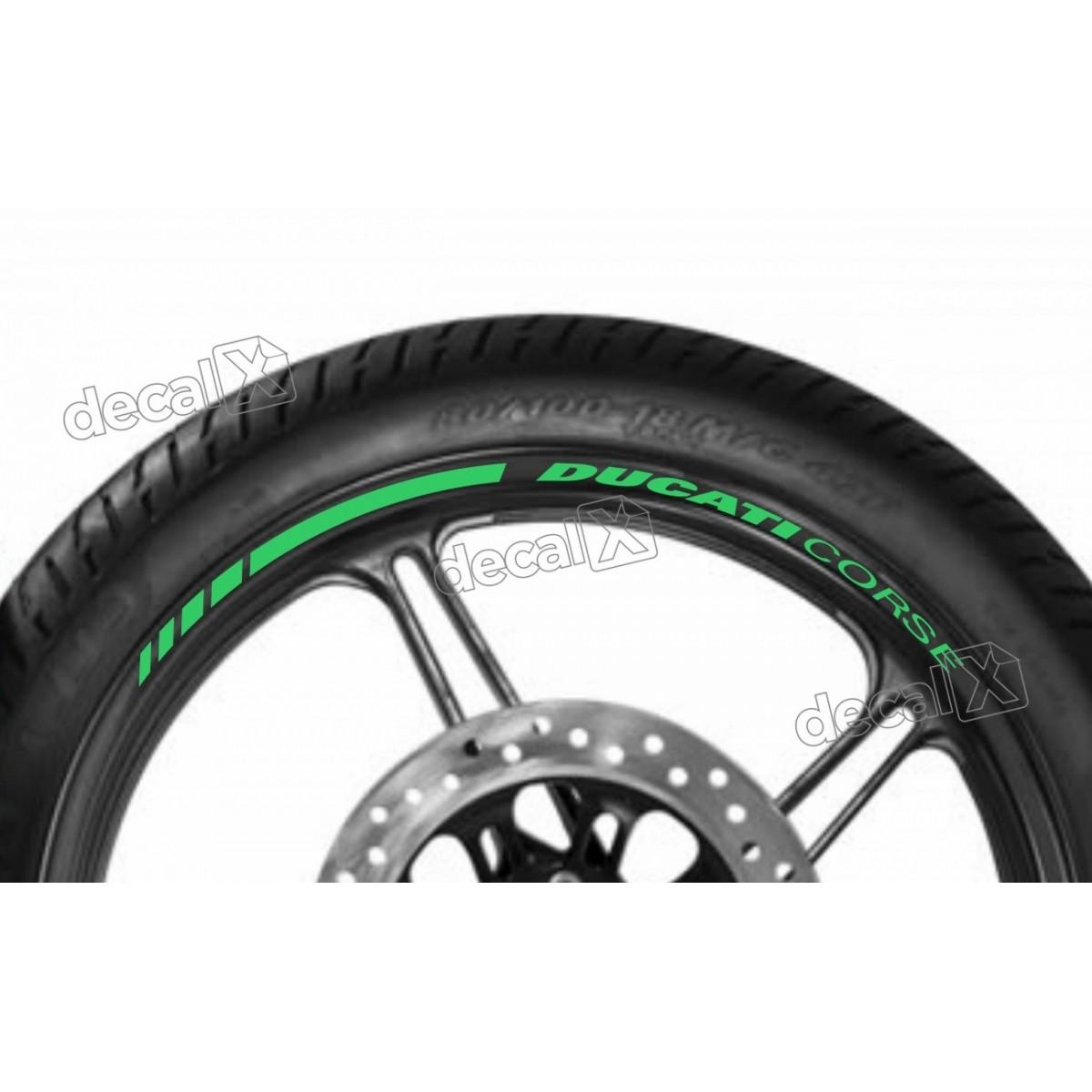 Adesivos Friso Refletivo Roda Moto Ducati Corse Verde