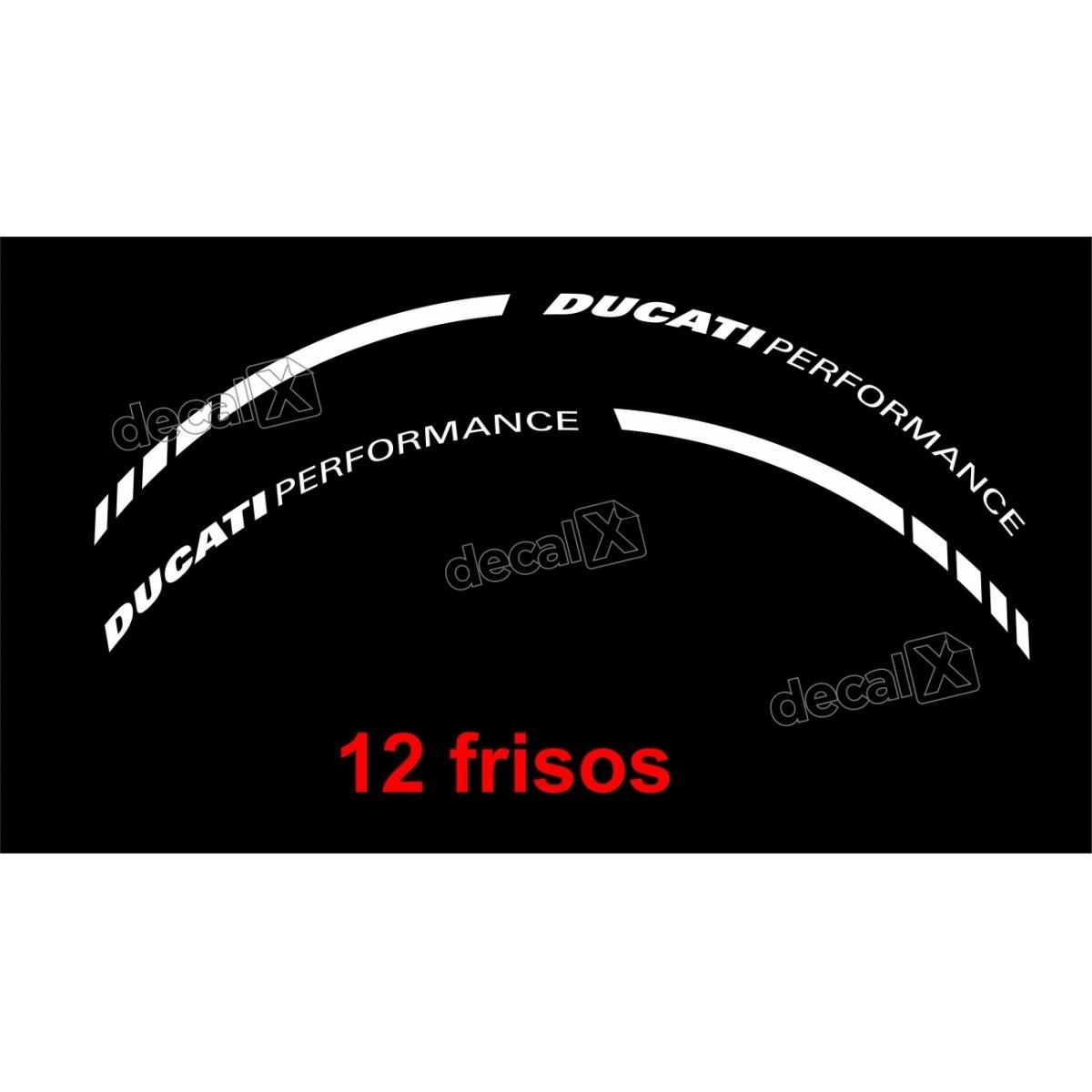 Adesivos Friso Refletivo Roda Moto Ducati Performance Branco