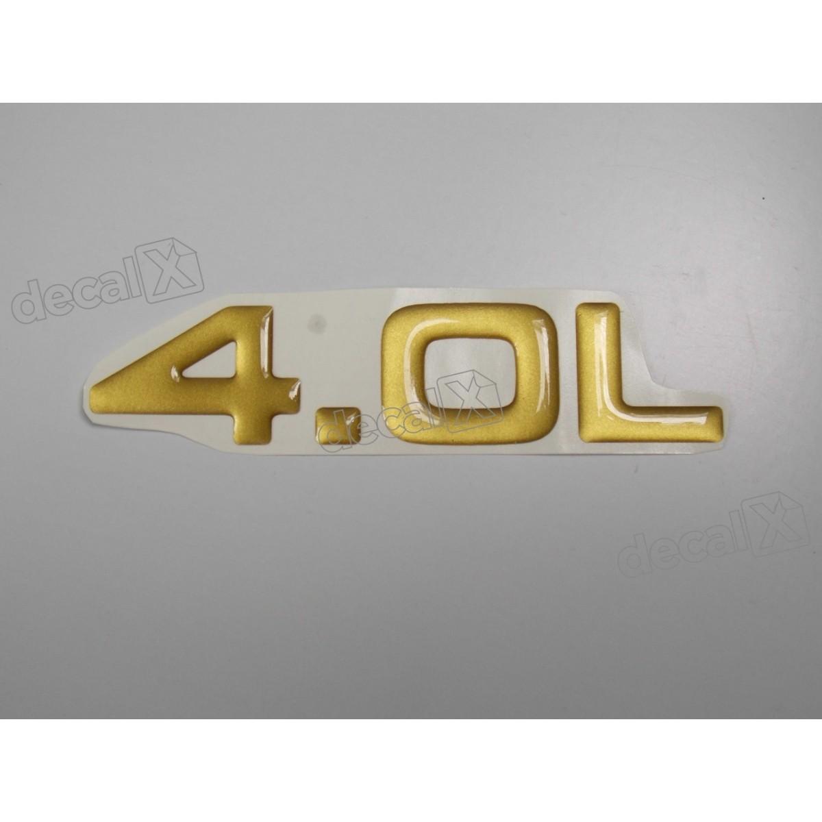 Emblema Adesivo Resinado 4.0l Cherokee Dourado - Decalx