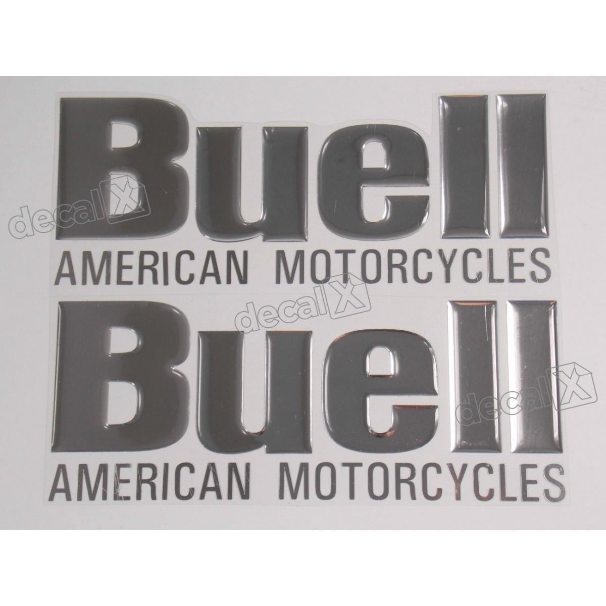 Emblema Adesivo Resinado Buell American Motocycle Cromado
