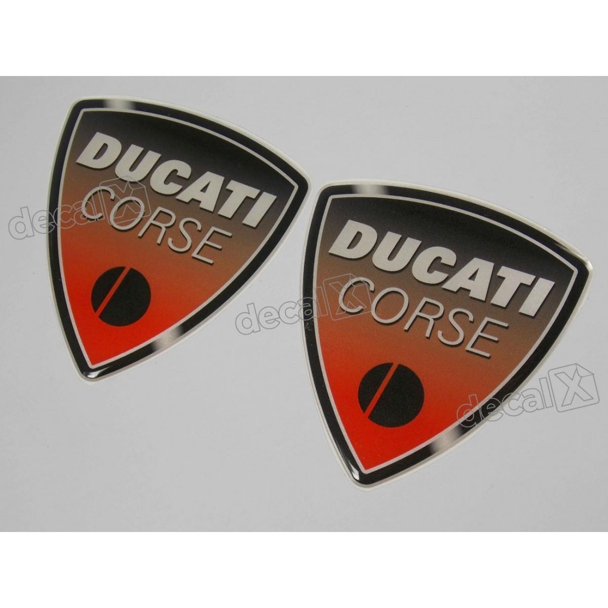 Emblema Adesivo Resinado Ducati Corse 8,5x9,0 Par Rs6