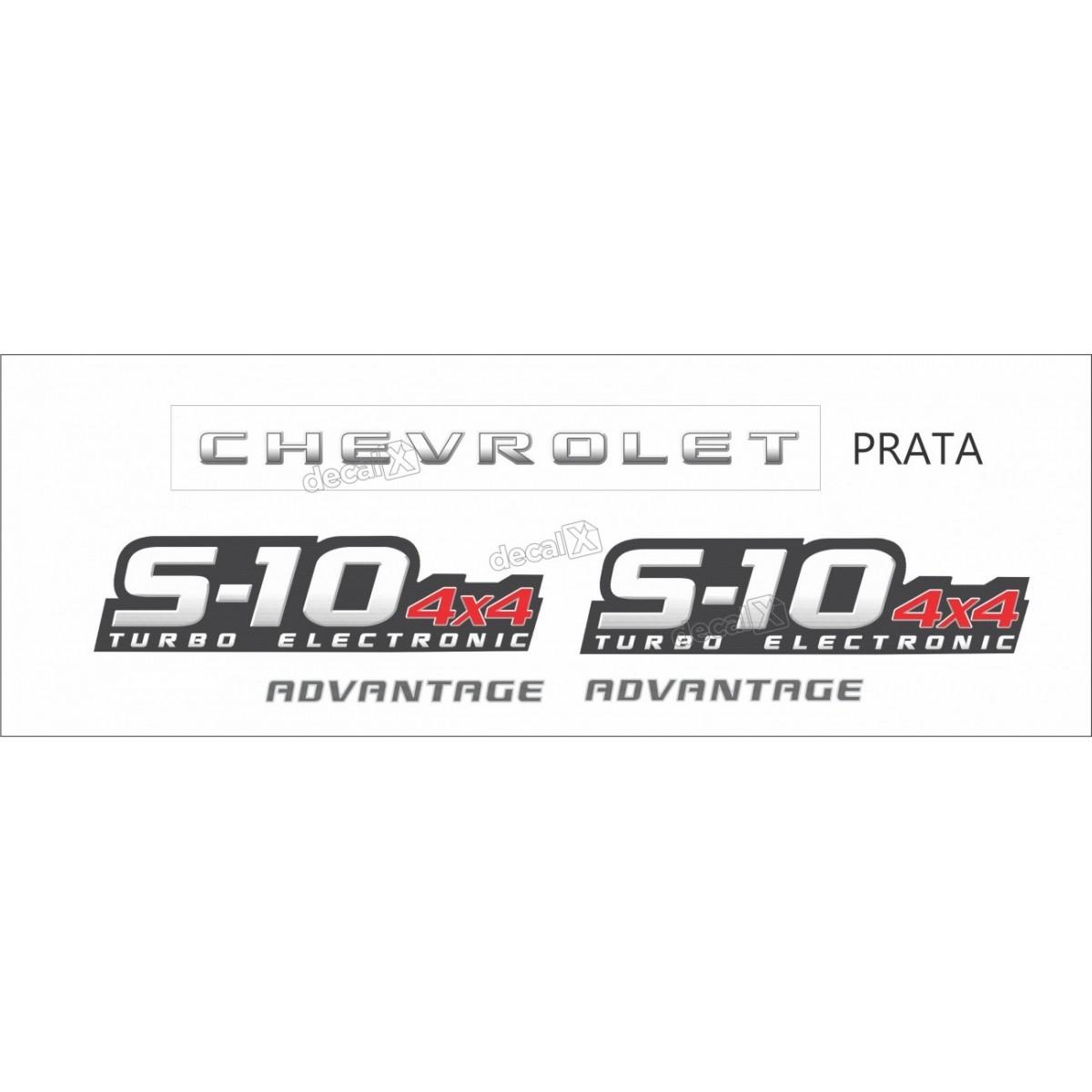 Faixa Adesivo Chevrolet S10 Advantage 4x4 2009 A 2011 Prata