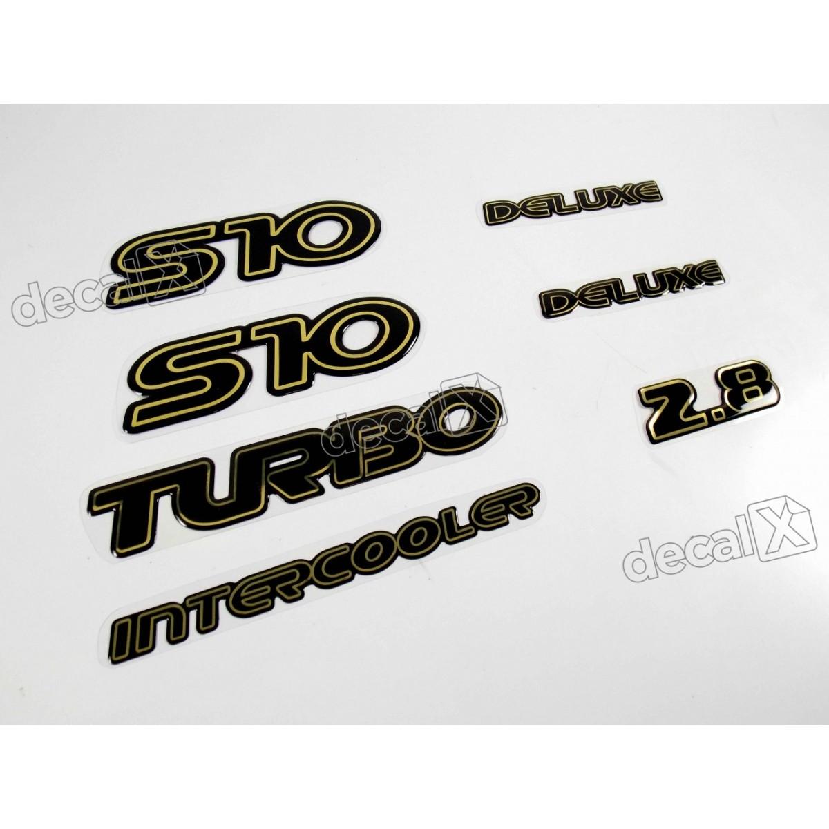 Jogo Emblema Adesivo Resinado S10 Deluxe 2.8 Kitr04