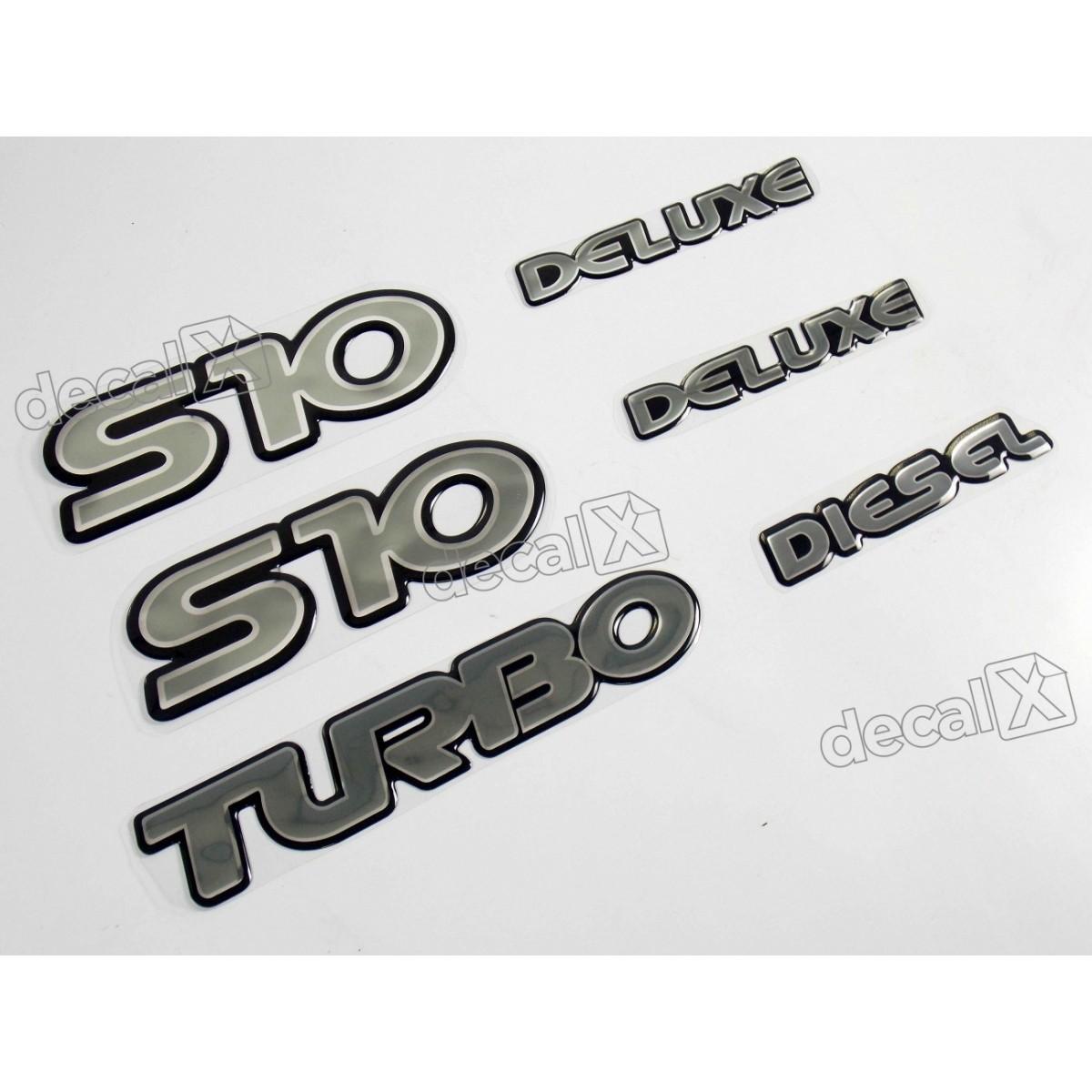Jogo Emblema Adesivo Resinado S10 Deluxe Diesel Kitr09