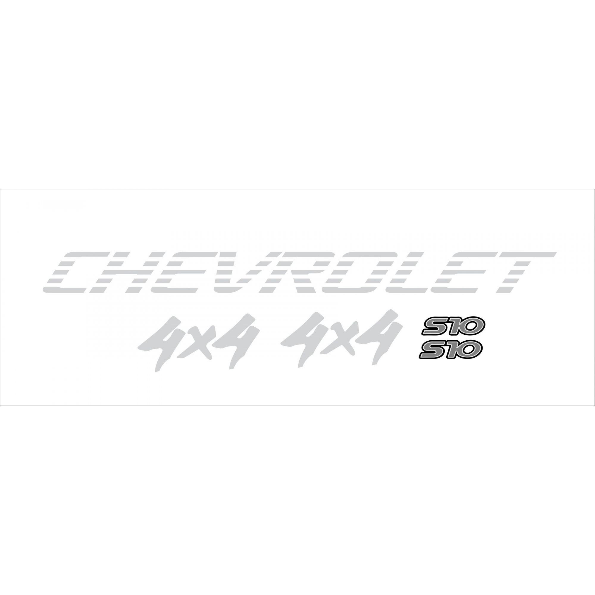 Kit Adesivo Chevrolet S10 4x4 1995/2000 Prata S10kit27