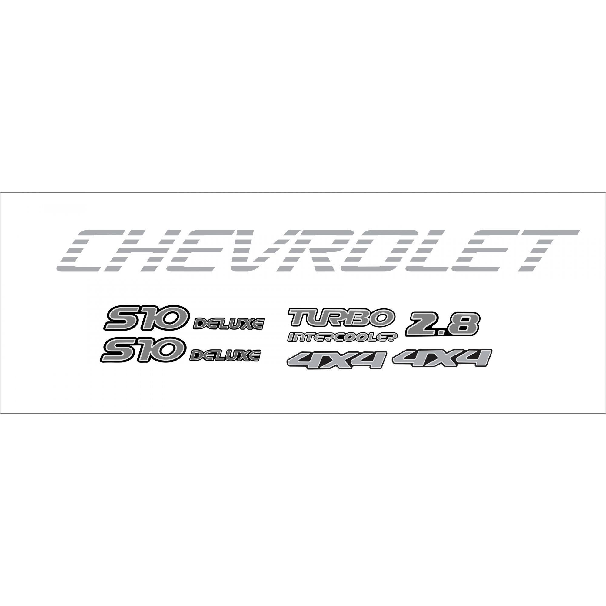 Kit Adesivo Chevrolet S10 4x4 2001 A 2005 Prata S10kit31