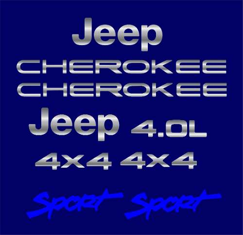 Kit Adesivo Cromado Resinado Jeep Cherokee Sport Azul Rs4