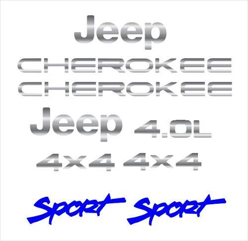 Kit Adesivo Cromado Resinado Jeep Cherokee Sport Branca Rs1