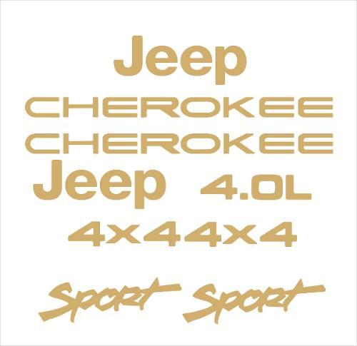 Kit Adesivo Dourado Resinado Jeep Cherokee Sport Branca Dr6