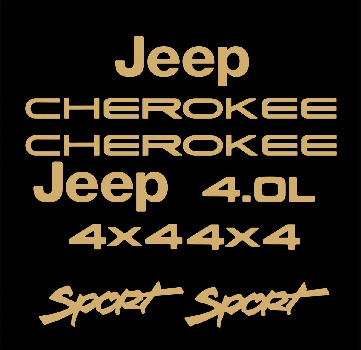 Kit Adesivo Dourado Resinado Jeep Cherokee Sport Preta Dr2